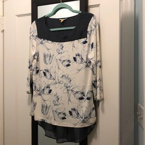 Anthropologie Maeve Floral Top with Sheer Back